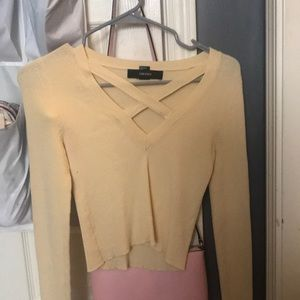 forever 21 light yellow long sleeve crossed front